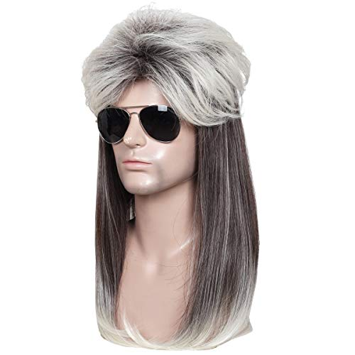 ColorGround Long Straight Brown and White 80's Mullet Rocker Style Wig for ()