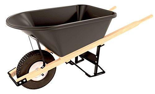 Bon 11 681 Premium Contractor Grade Poly-Tray Single Wheel Wheelbarrow with Wood Handle and Knobby Tire, 5-3/4 Cubic (Union Tools Wheelbarrow)