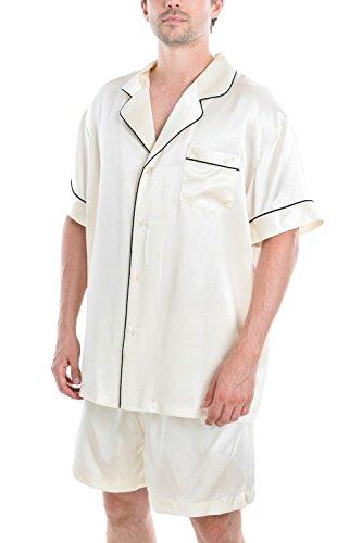 (OSCAR ROSSA Men's Luxury Silk Sleepwear 100% Silk Short Sleeve Top Boxer Short Pajamas Set)