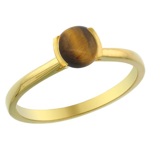 Round Gold Tiger Yellow (14K Yellow Gold Natural Tiger Eye Solitaire Ring Round 5mm, size 6)