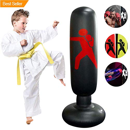 xivqiuny Inflatable Fitness Punching Bag,Free-Standing Fitness Target Stand Tower Bag, MMA Boxing Punching Kick Training Tumbler Bop Bag 160CM for Kids Adults (Black) (Best Punching Bag For Youth)