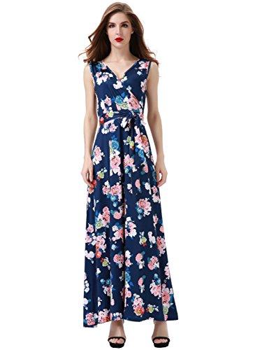 Aphratti Women's Bohemian Sleeveless V Neck Faux Wrap Long Maxi Dress Medium Navy Floral
