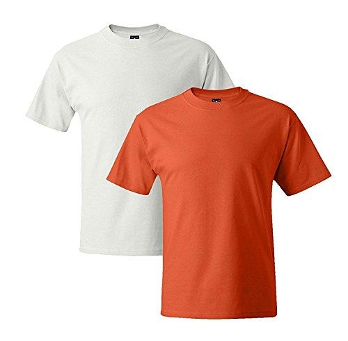 Hanes Mens 5180 Short Sleeve Beefy T, 1 Orange/1 White 1 Orange / 1 White