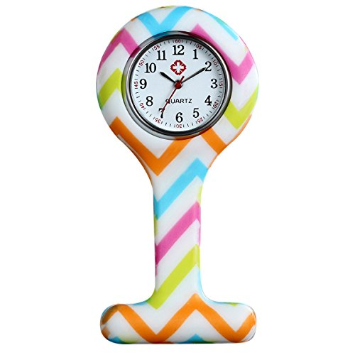Women's Girls Nurse Watches Cute Silicone Tunic Health Care Nurse and Doctor Pin-on Brooch Fob Watch with Colorful ()