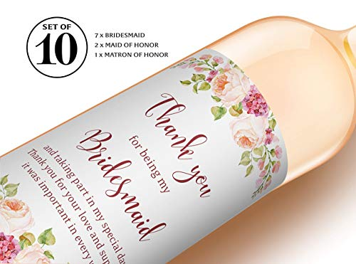 Thank You for being My Bridesmaid Wine Bottle Labels ● SET of 10 ● Bridesmaid Gifts, Bridal Party Thank You Gifts, Maid of Honor Gift, Bridal Party Thank You Card Alternative WATERPROOF, A900-THANK-10