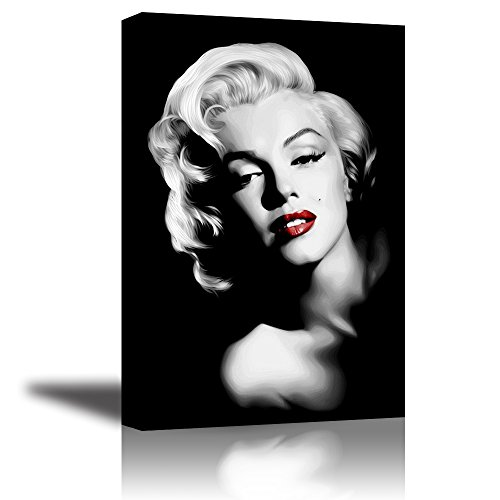 PIY Red Lips Monroe Wall Art with Frame, Canvas Prints Wall Decor Paintings for Living Room, Hook Mounted, Waterproof, 1