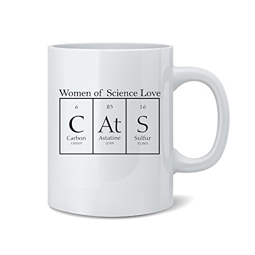 Mad Ink Fashions - Women Of Science Love Cats - Cats Element Mug - Funny White 11 Oz. Coffee Mug - Great Gift for Mom, Dad, Co-Worker, Boss