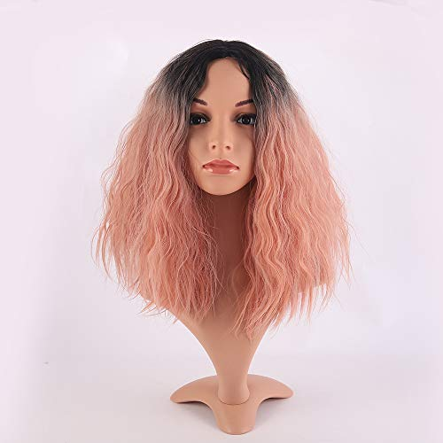 "Price comparison product image Jollyvogue 14"" Fashion Omber Synthetic Pink Wig for Women's and Short Curly Wavy Synthetic Wig Shoer Bob for Party Beautiful Looking(without lace front)"