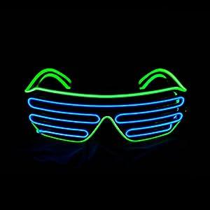 Aquat Glow Shutter Neon Rave Glasses El Wire LED Sunglasses Light Up DJ Costumes For Party, 80s, EDM RB03 (Light Green + Blue)