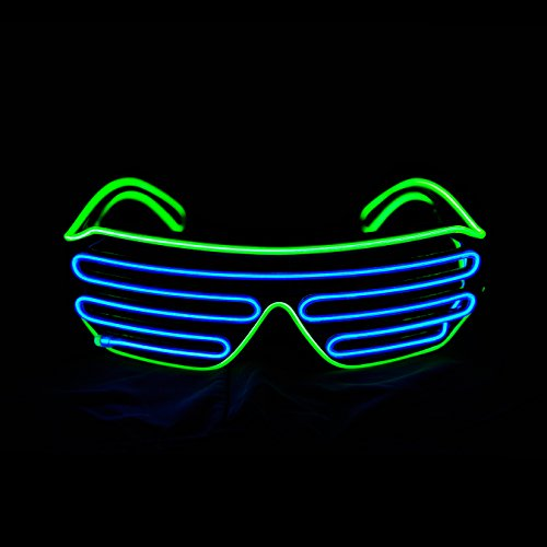 PINFOX Glow Shutter Neon Rave Flashing Glasses El Wire LED Sunglasses Light Up DJ Costumes for Party, 80s, EDM RB03 (Light Green - Blue) -