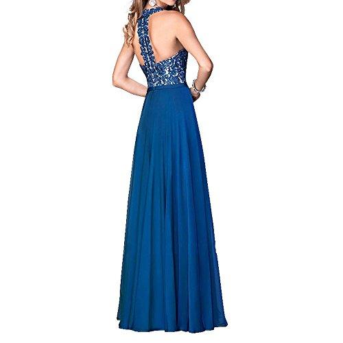 Spitze Brau mia Dunkel mit Kleider Blau La Abendkleider Chiffon Promkleider Linie Abschlussballkleider Rock Brautmutterkleider Jugendweihe A EqAdda5x