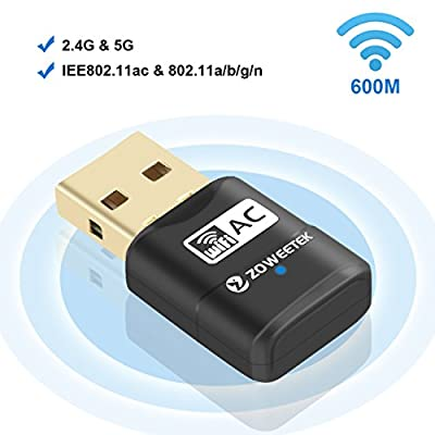 Zoweetek 600Mbps WiFi USB Adapter, 802.11ac Wireless Network Dongle with Dual Band 2.4GHz (150Mbps)/5GHz (433Mbps) for Windows XP/7/8/10 and Mac OS X 10.6-10.12