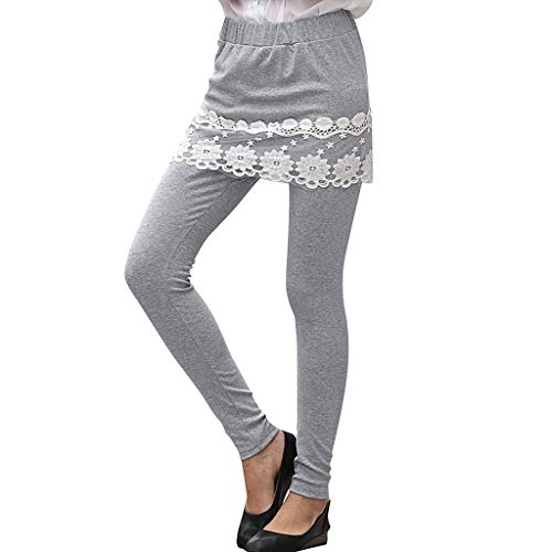 Botrong Women Lace Floral Skirt Running Trousers Ladies Casual Sport Pants Gray