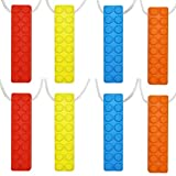 Sensory Chew Necklace Set, (8 Pack) Made from Food Grade Silicone Safety for Kids Teething, Silicone Chewy Sticks for Autistic, ADHD, Oral Motor Boys and Girls Children-Blue,Red,Yellow,Orange