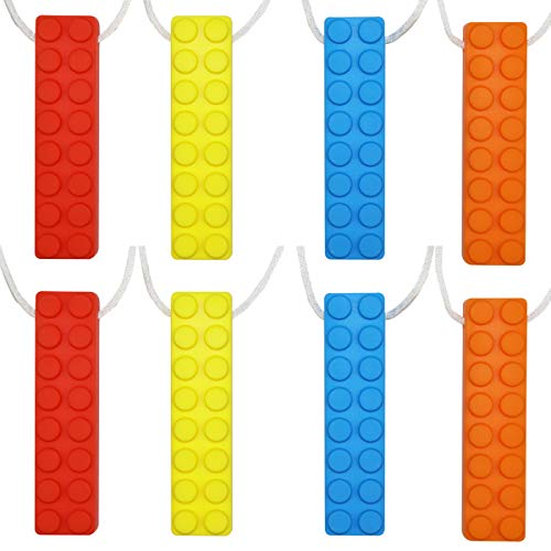 Child Chew - Sensory Chew Necklace Set, (8 Pack) Made from Food Grade Silicone Safety for Kids Teething, Silicone Chewy Sticks for Autistic, ADHD, Oral Motor Boys and Girls Children-Blue,Red,Yellow,Orange
