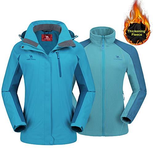 CAMEL CROWN Women's Outdoor Sports Jacket 3 in 1 Ski Waterproof Mountain Coat Snow Windproof