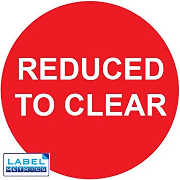 Label metrics reduced to clear red white 40mm promotional labels