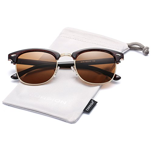 Retro Polarized Semi Rimless Clubmasters Sunglasses COASION Horn Rimmed Shades for Men Women (Brown, - Brown Clubmaster