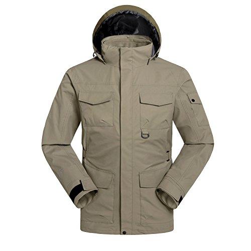 Coat FYM Long Waterproof DYF Outdoor Khaki M Men Jacket Collar JACKETS Women Zipper Sleeves qrrgIw
