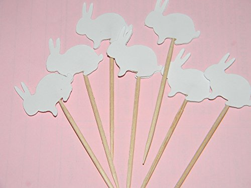 24 white bunny bunnies cupcake toppers food picks easter baby shower party decor