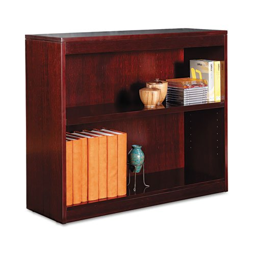 Alera - Square Corner Wood Veneer Bookcase, Two-Shelf, 35-5/8w x 11-3/4d x 30h, Mahogany BCS23036MY (DMi (Alera Corner Bookcase Cabinet)