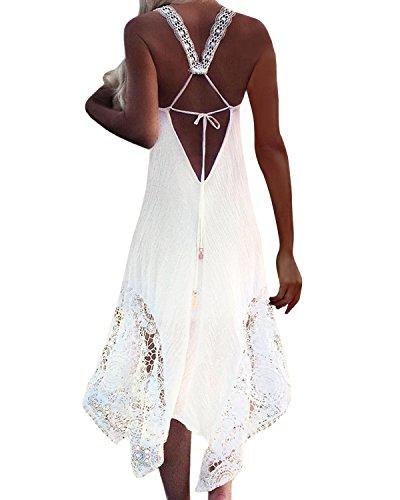 StyleDome Women's Strappy Lace Crochet Spaghetti Backless Halter Beach Sundress Sleeveless Bohemian Maxi Dress White US 18