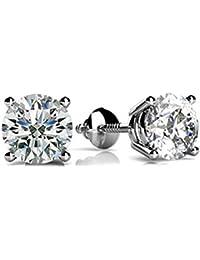 1/4 - 2 Carat GIA Certified Round Diamond Stud Earrings 4 Prong Screw Back (D-E Color VS1-VS2 Clarity)
