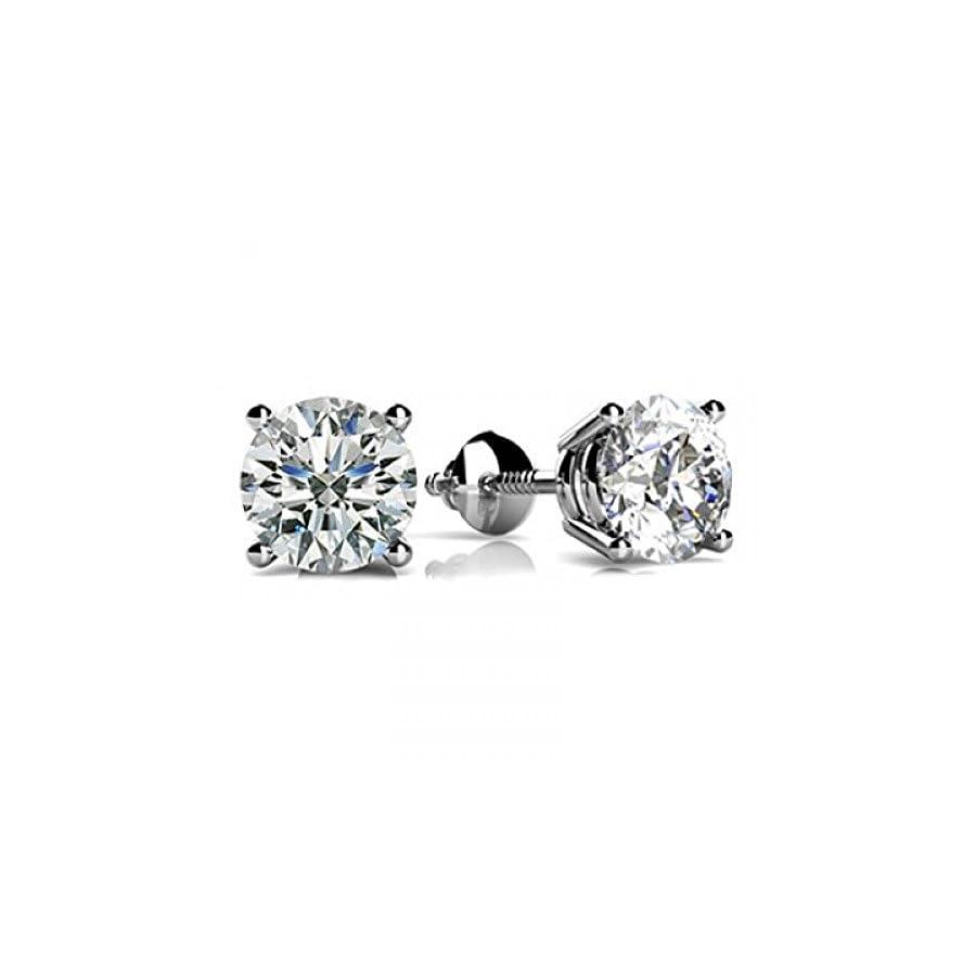 1/4 2 Carat GIA Certified Round Diamond Stud Earrings 4 Prong Screw Back (D E Color VS1 VS2 Clarity)