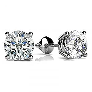 2 Carat GIA Certified Round Diamond Stud Earrings Platinum 4 Prong Screw Back D-E VS1-VS2