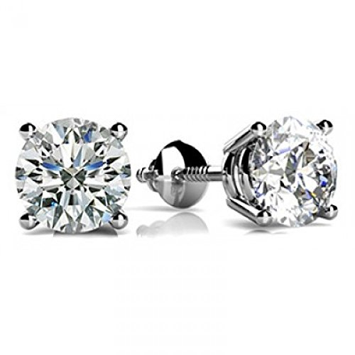 1 Carat GIA Certified Round Diamond Stud Earrings Platinum 4 Prong Screw Back H-I VS1-VS2 by Diamond Manufacturers USA