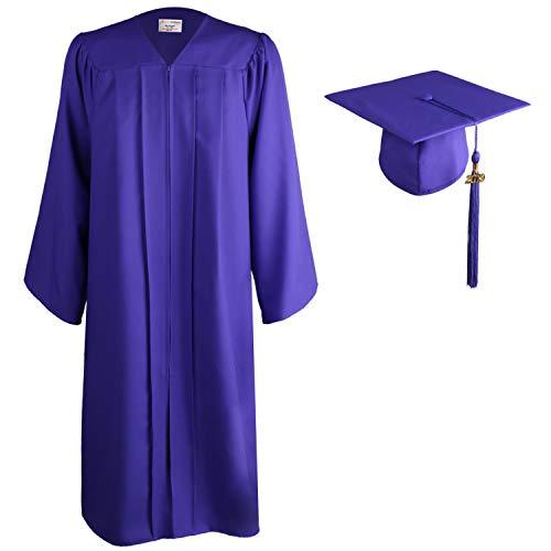OSBO GradSeason Matte Graduation Gown Cap Tassel Set for High School and Bachelor (Purple, 51
