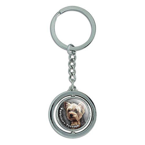 (Graphics and More Yorkshire Terrier Yorkie Dog Pet Spinning Round Metal Key Chain Keychain Ring)