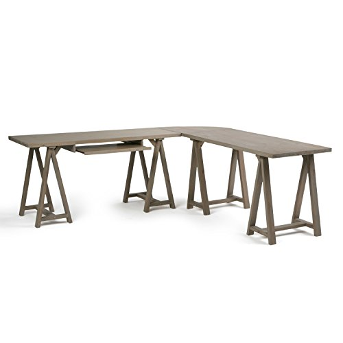 Simpli Home Sawhorse Solid Wood L-Shape Corner Desk, Distressed Grey by Simpli Home (Image #2)