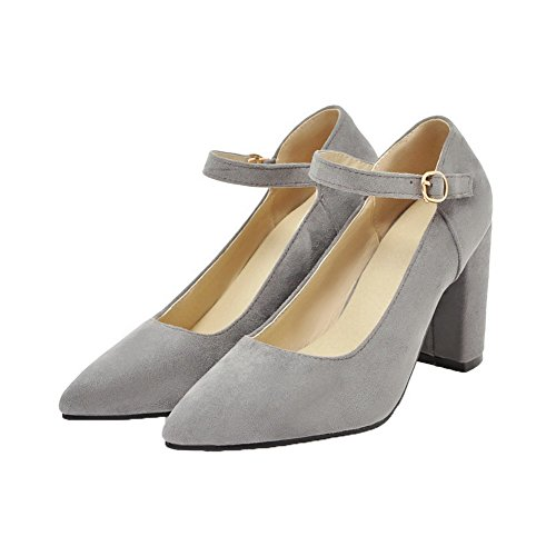 High Buckle Solid Toe WeiPoot Women's Shoes Gray Heels Pointed Frosted Pumps FqSwfxX4