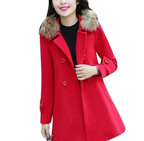 Gabardina Larga Casual para Mujer abrigos chaquetas con cuello de piel sintético parka Rojo