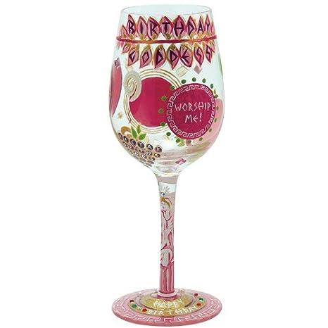 Designs By Lolita Birthday Goddess Hand Painted Artisan Wine Glass 15 Oz