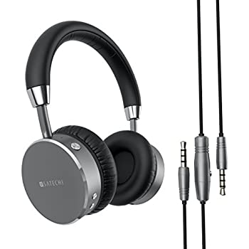 Satechi Aluminum Bluetooth Wireless Headphones with Enhanced Bass 3.5mm Audio-out Jack for iPhone X/8 Plus/8, Samsung Galaxy S8/S7 and more (Space Gray)