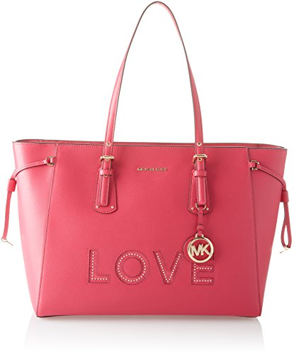 cute pink leather tote bag for women