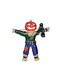 Halloween pumpkin scarecrow with crow handcasted handpainted Vintage Inspired NEW Gift Brooch pin P1927