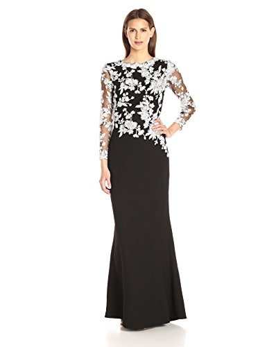 Tadashi Shoji Women's Long-Sleeve Gown in Textured Crepe with Floral Lace Bodice, Ivory/Black, 16