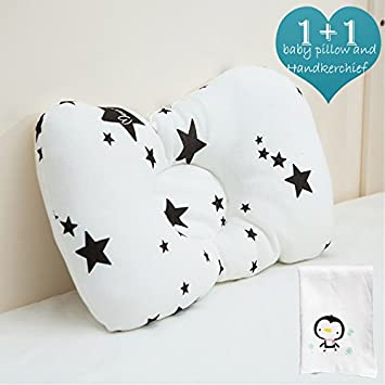 Organic Newborn Baby Pillow, Washable and Breathable Cotton be Used in Fabric and Core, Adjustable Height and Ergonomic Design to Prevent Flat Head Syndrome. A Cute Handkerchief is Included(Flamingo) ZUMEI