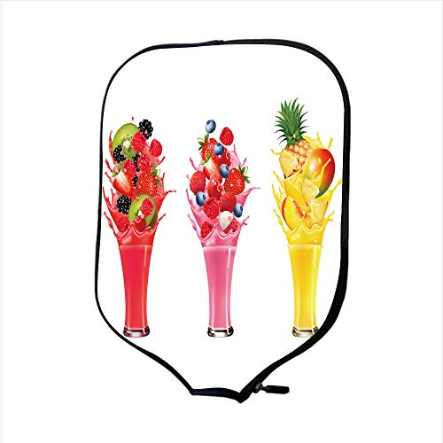 (Neoprene Pickleball Paddle Racket Cover Case/Fruit in Juice Splashes Strawberry Guava Kiwi Pineapple/Fit for Most Rackets - Protect Your)
