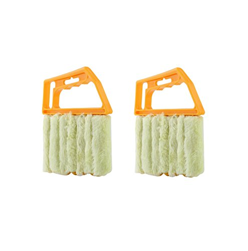 Venetian Window - LemonTree Lemon Tree 2PCS Mini Hand Held Microfibre Venetian Blind Brush, Window Air Conditioner Duster Dirt Cleaner Housework Tool With 7 Slat Handheld For Car, Fan, Office, Home