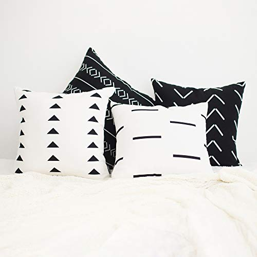 HOMFINER Mudcloth Inspired Decorative Throw Pillow Covers Set for Couch, Bed, Sofa or Bedroom 100% Cotton Canvas Black and White 18 x 18 inch Set of 4