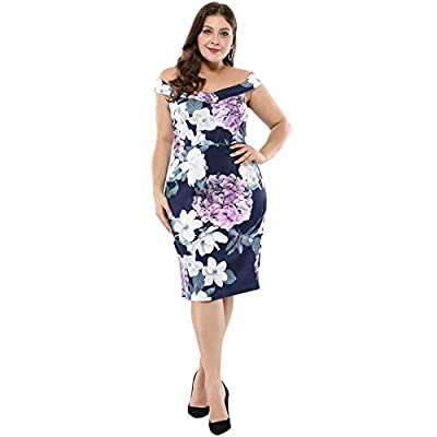 Agnes Orinda Women's Plus Size Floral Party Off Shoulder Cocktail Dress at  Women's Clothing store