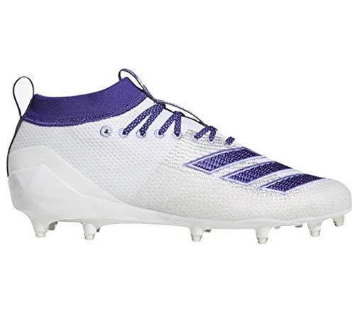adidas Men's Adizero 8.0 Football Shoe, White/Collegiate Chalk Purple, 10 M US