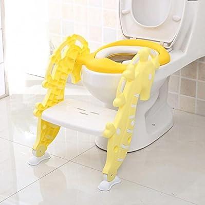 Cama de entrenamiento ajustable para niños Escalera de inodoro para niños Pasos de asiento Tocador de bebé Escalera circular Asiento plegable portátil - Amarillo, Adecuado para niños de 1 a 9 años: