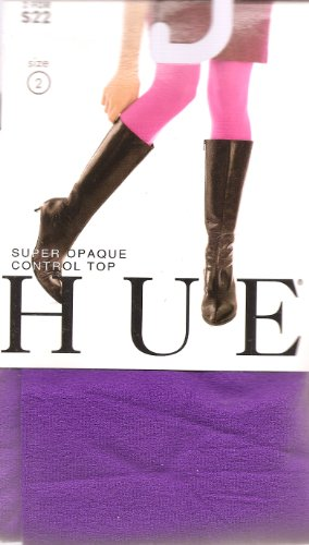HUE Super Opaque Control Top Tights, Size 2, Passion ()