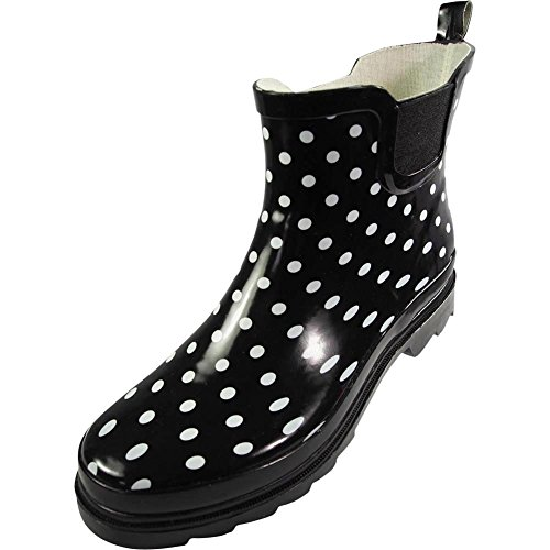 NORTY Womens Ankle High Polka Dot Printed Rain Boot, Black, White 39719-8B(M) US (Womens Ankle High Boots)