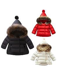 Little Girl Boy Winter Warm Thick Hoodie Snowsuits Windproof Down Jacket Outwear